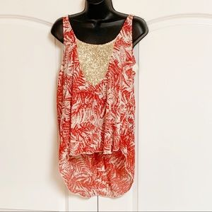 Anthro TINY Red Floral Gold Sequin Hi Lo Tank M